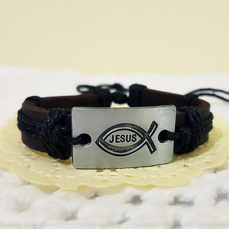 【more 禮品小舖】編織手環JESUS得人如得魚/基督教福音禮品、小物、受洗、受浸、生日禮物