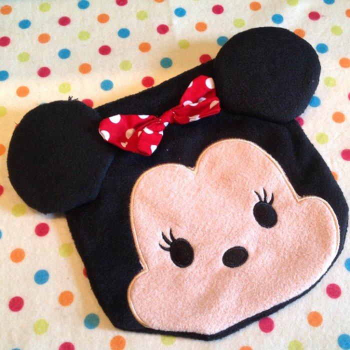 =優生活=迪士尼 tsum tsum 米妮毛絨刺繡束口袋 拉繩袋 拍立得收納包 化妝包 雜物包