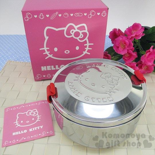 〔小禮堂〕Hello Kitty 雙層不鏽鋼便當盒《銀.圓型.大臉》附防塵袋