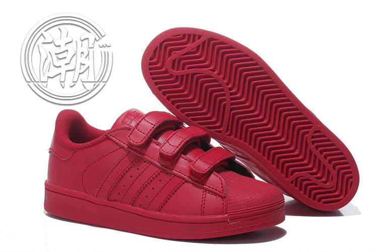 Adidas魔鬼氈 城市 紅色 彩虹 經典 貝殼 街頭 限量 情侶鞋 余文樂 童鞋 大童鞋 學步 透氣百搭【T0087】潮