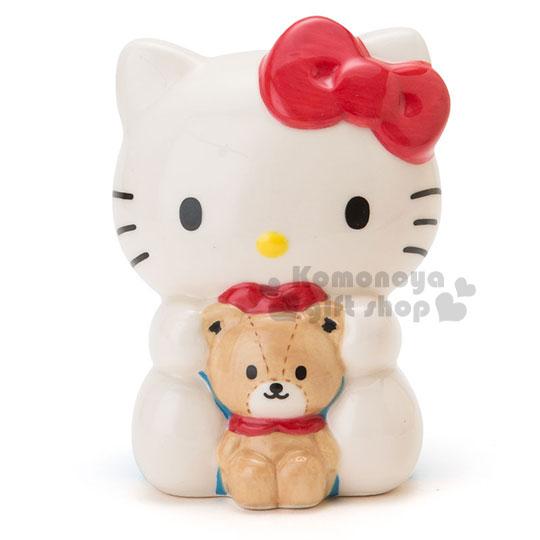 〔小禮堂〕Hello Kitty 造型陶瓷存錢筒《白.坐姿.朋友》金銀財寶滾滾來