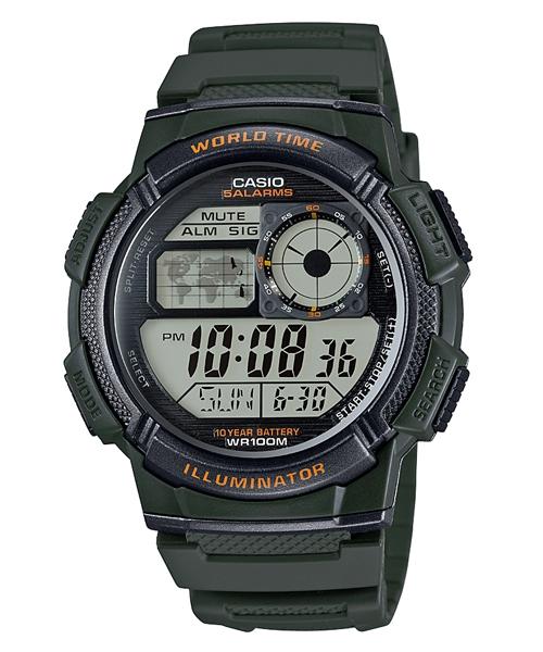 CASIO  AE-1000W-3A經典地圖數位腕錶/綠44mm