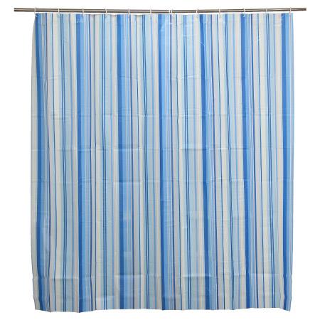 浴簾 PEVA 藍色豎條紋 180x180cm