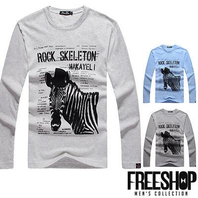Free Shop【QR95026】日韓風格麻色系斑馬字母印花圓領棉質長T長袖上衣潮T 三色