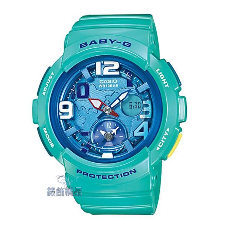 【錶飾精品】現貨卡西歐CASIO Baby-G海灘旅行系列 地球圖樣 BGA-190-3B 深海藍綠BGA-190-3BDR 全新原廠正品