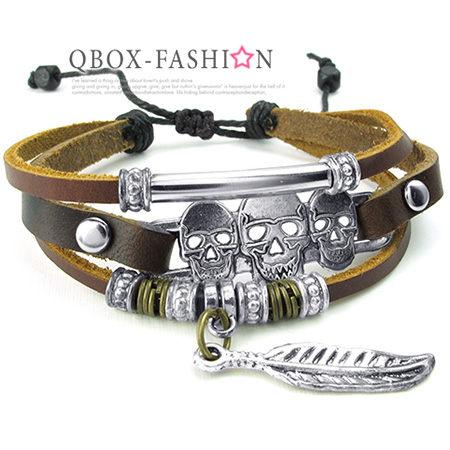 《 QBOX 》FASHION 飾品【W10024343】精緻個性復古羽毛骷顱頭合金皮革手鍊/手環