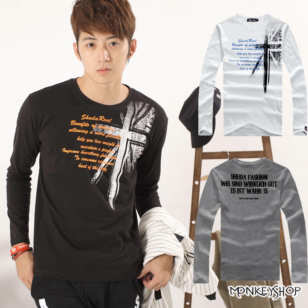 【A73950】MIT台灣製日韓系英國國旗肩面印花圓領長袖T恤-3色《Monkey Shop》