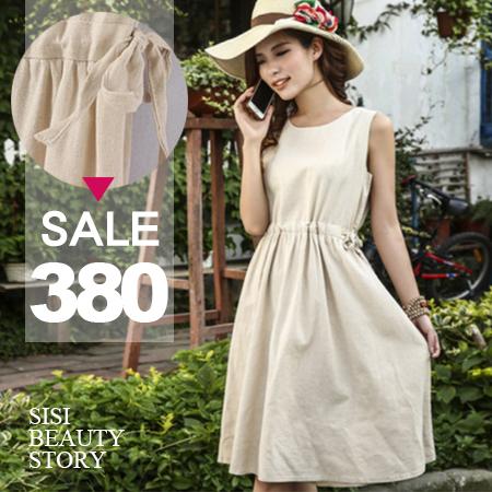 SISI【D6127】復古森林系無袖修身抽繩中長款棉麻連身裙背心裙洋裝