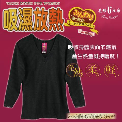 輕薄發熱衣 吸濕放熱 保暖衣 V領花邊款 台灣製 花形風采