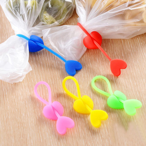 PS Mall 炫彩愛心造型矽膠捆紮帶 食品袋束口帶 捆綁紮帶【J154】