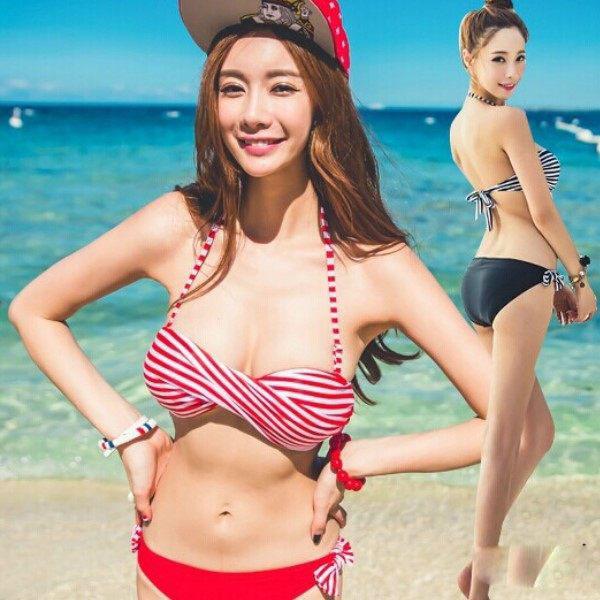 PS Mall╭*新款韓國百變 鋼托平角裙式比基尼 清爽碎花 游泳衣 比基尼泳裝加大碼泡湯泳衣【WET033】
