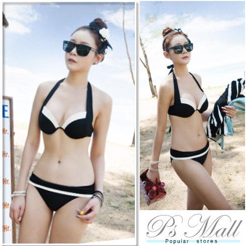 PS Mall 韓國泳衣新新款黑配白性感時尚比基尼 游泳衣 比基尼泳衣泳裝加大碼泳衣【ET070】
