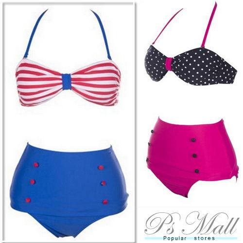PS Mall 女士高腰泳裝 分體式BIKINI 游泳衣 點點 藍 紅 比基尼泳衣泳裝加大碼泳衣【WET087】