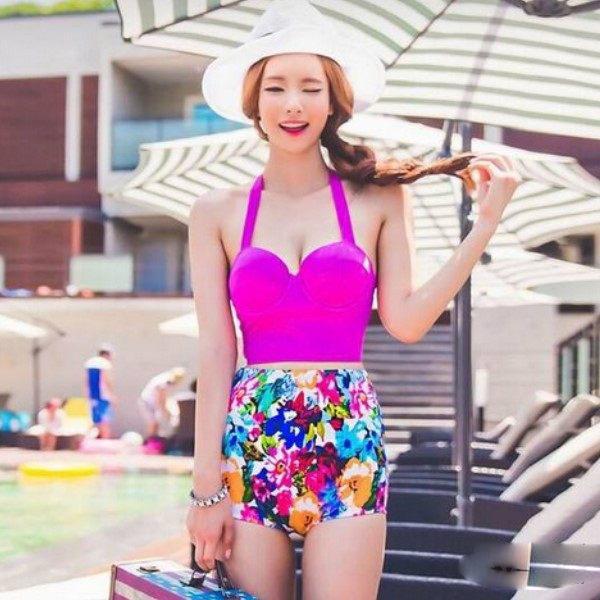 PS Mall 韓版新款泳衣三角二件式 鋼托聚攏碎花 高腰比基尼泳衣游泳衣溫泉沙灘BIKINI【ET279】