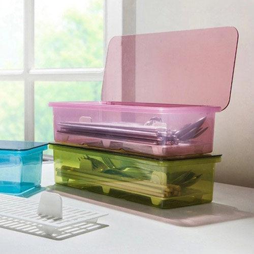 PS Mall 筷子架 廚房餐具收納盒筷子盒瀝水盒塑膠瀝水盒【J047】