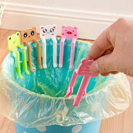 PS Mall 日韓Q版動物防滑落垃圾桶垃圾袋專用固定夾子(2入)【J1029】