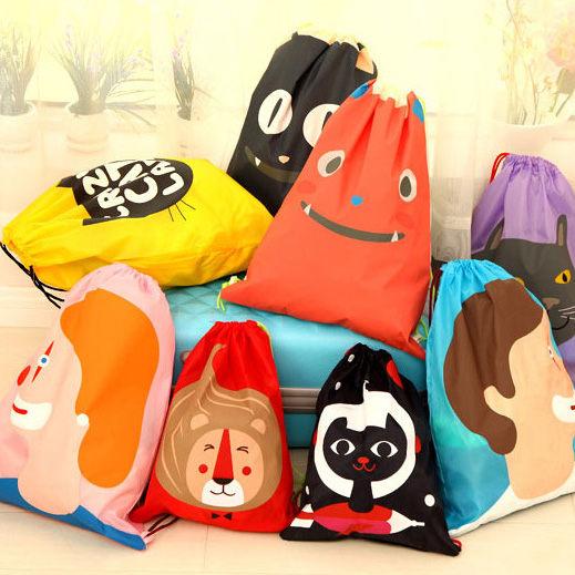 PS Mall 日韓潮流趣味情侶防水旅行輕便束口雙肩包 後背包 束口袋 小款【J1057】