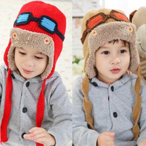 PS Mall 秋冬潮帽 小小飛行員 加絨護耳 兒童毛線帽 保暖毛帽 帽子【J408】