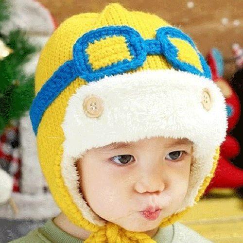 PS Mall 韓版秋冬潮帽 加絨眼鏡飛行員保暖護耳男女兒童毛線帽 加厚保暖毛帽 帽子【J416】