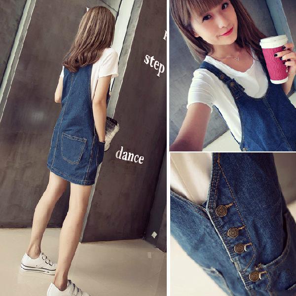 PS Mall 韓版 時尚顯廋前後雙口袋造型牛仔吊帶褲 吊帶裙 連身裙【T5288】