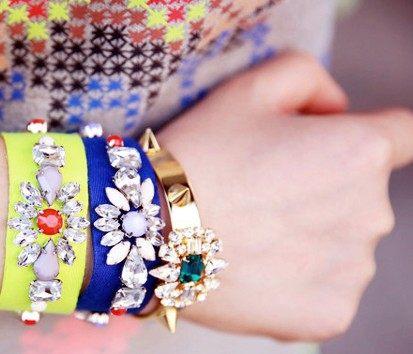 PS Mall╭*個性百搭 街頭潮人 多彩寶石螢光色織帶手鍊 手環【G1460】