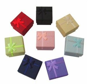 PS Mall╭*戒指盒 耳環盒 包裝盒 飾品盒 首飾盒 紙盒 4*4CM 多色入【J2349】