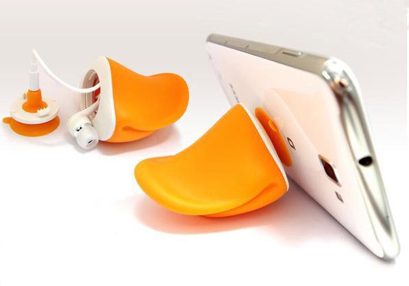 PS Mall╭*人氣鴨嘴手機支架 創意配件耳機繞線器 多功能支架 手機座 手機架【J1209】黃色小鴨