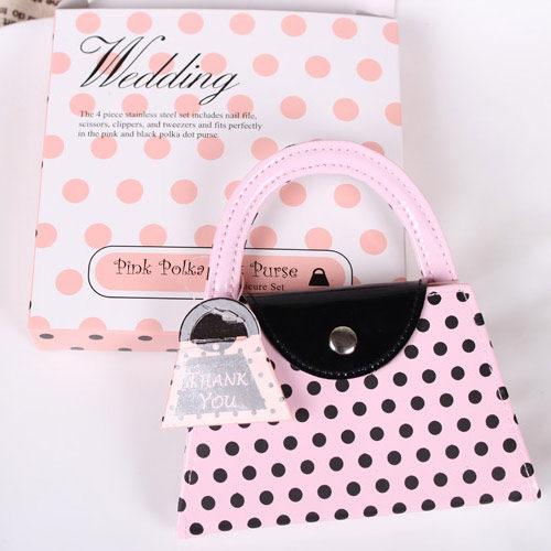 PS Mall╭*禮盒裝粉紅美容套裝 手提包造型美甲包 指甲刀【H207】