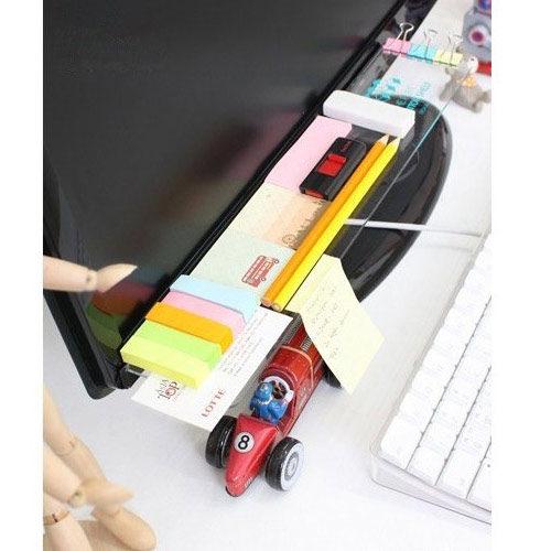 PS Mall╭*電腦螢幕顯示器收納架屏幕便利貼板【J2192】