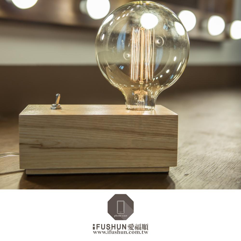 iFUSHUN愛迪生燈泡單頭座檯燈 木製檯燈 櫸木單座燈