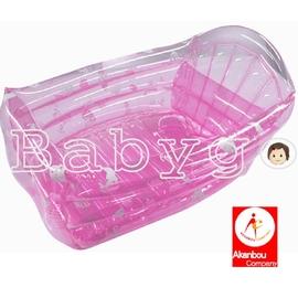 *babygo*日本 Akanbou-充氣式澡盆/透明粉