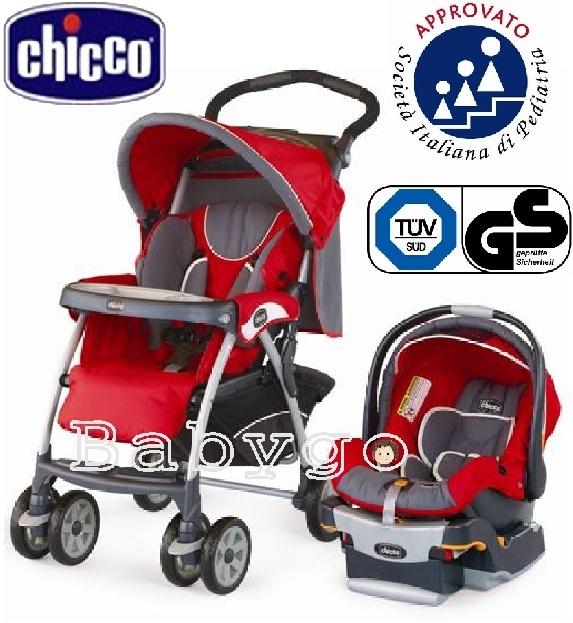 *babygo*Chicco DUO CT0.2 嬰兒手推車 + KeyFit 提籃系統組合 - 艷陽紅