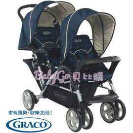 *babygo*GRACO 雙人前後座嬰幼兒手推車城市雙人行Stadium Duo【天海藍】