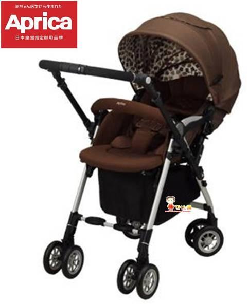 *babygo*Aprica自動定位導向型嬰幼兒手推車SORARIA Auto四輪719BR【棕櫚格】