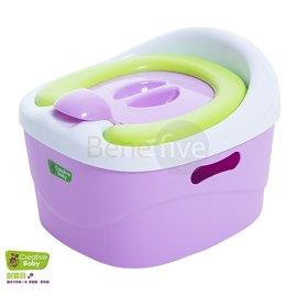 *babygo*美國Creative Baby多功能三合一學習軟墊馬桶(Horseshoe)(紫)