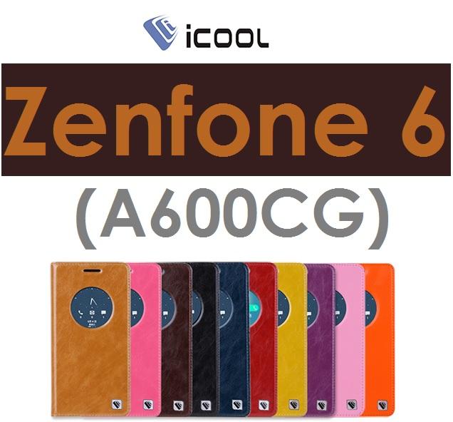 【ICOOL】華碩 ASUS Zenfone 6(A600CG)視窗皮套 真皮 透視保護套(ICOOL酷系列)