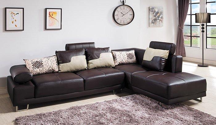 【尚品傢俱】 HY-A228-01 丹尼L型皮沙發 (咖啡) 另有米黃色