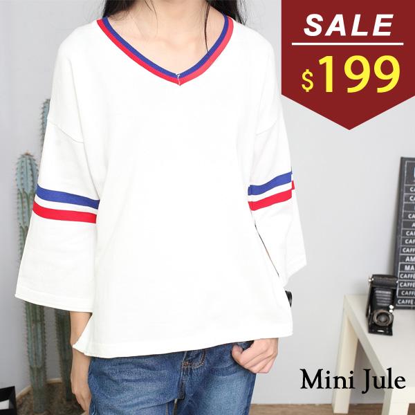 上衣 寬版紅藍配色V領條紋開衩袖針織上衣 小豬兒 MiNi Jule 【SUA62001817】
