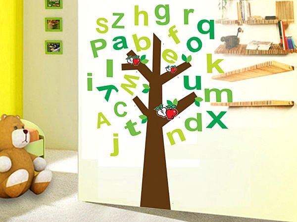 BO雜貨 【YV3013】創意壁貼 牆貼 壁紙壁貼 磁磚貼 兒童房卡通貼紙 英文字母樹