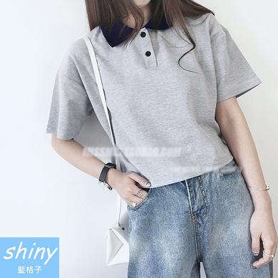 【V0882】shiny藍格子-悠閒自然.拼接翻領寬鬆短版短袖POLO衫