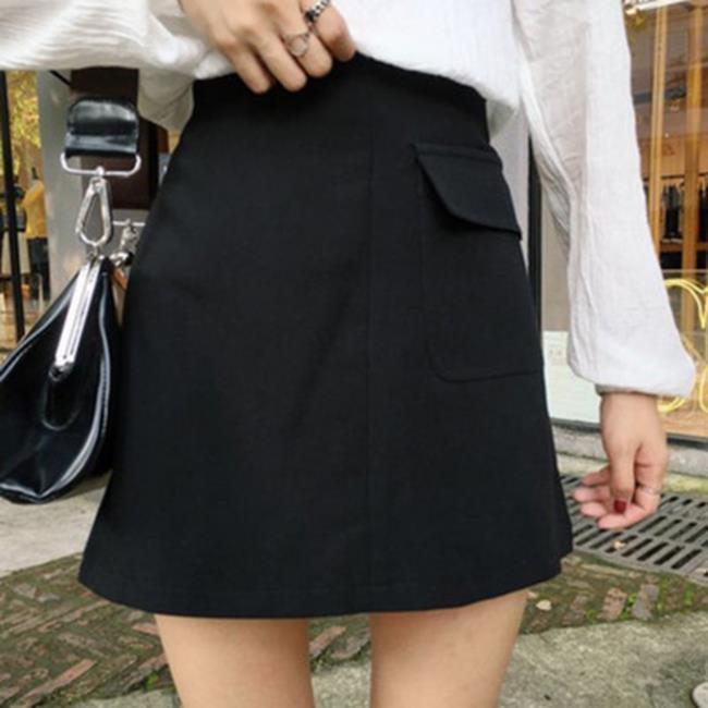 50%OFF【G019012S】實拍!無敵好搭配鬆緊腰口袋黑色西裝AA半身裙