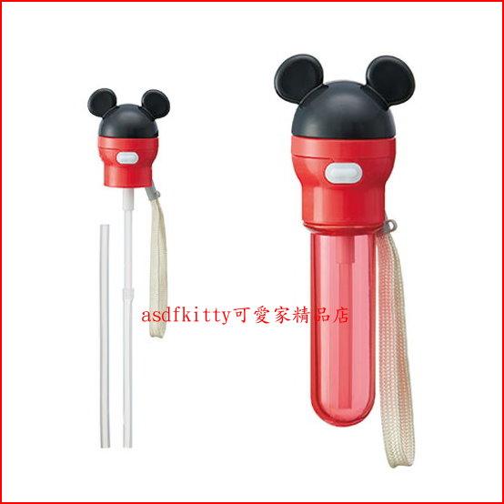 asdfkitty可愛家☆米奇 寶特瓶吸管頭-附紅色吸管收納套-普通飲料馬上變吸管瓶-日本正版商品