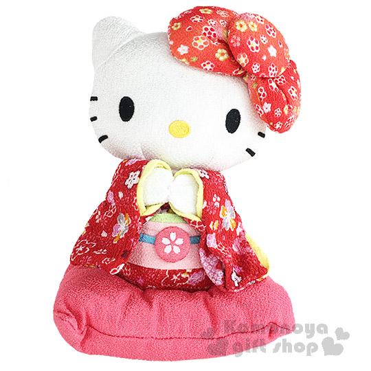 〔小禮堂〕Hello Kitty 造型絨毛玩偶娃娃《S.站姿.紅和服.粉枕頭上》