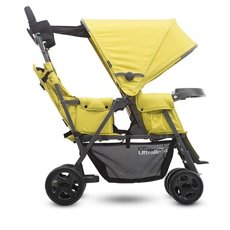 【淘氣寶寶】2016年 新款 美國 Joovy Caboose Ultralight Graphite 新款輕量級雙人推車/兄弟車【新款黃色+第二座椅】組合