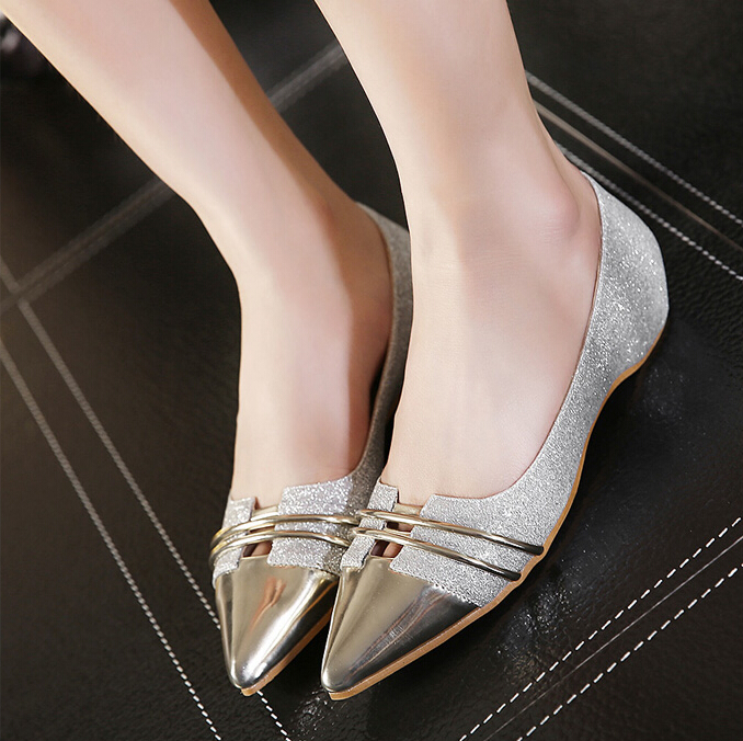 金屬亮粉尖頭淺口低跟鞋內增高平底鞋-銀35-39【no-520684298602】