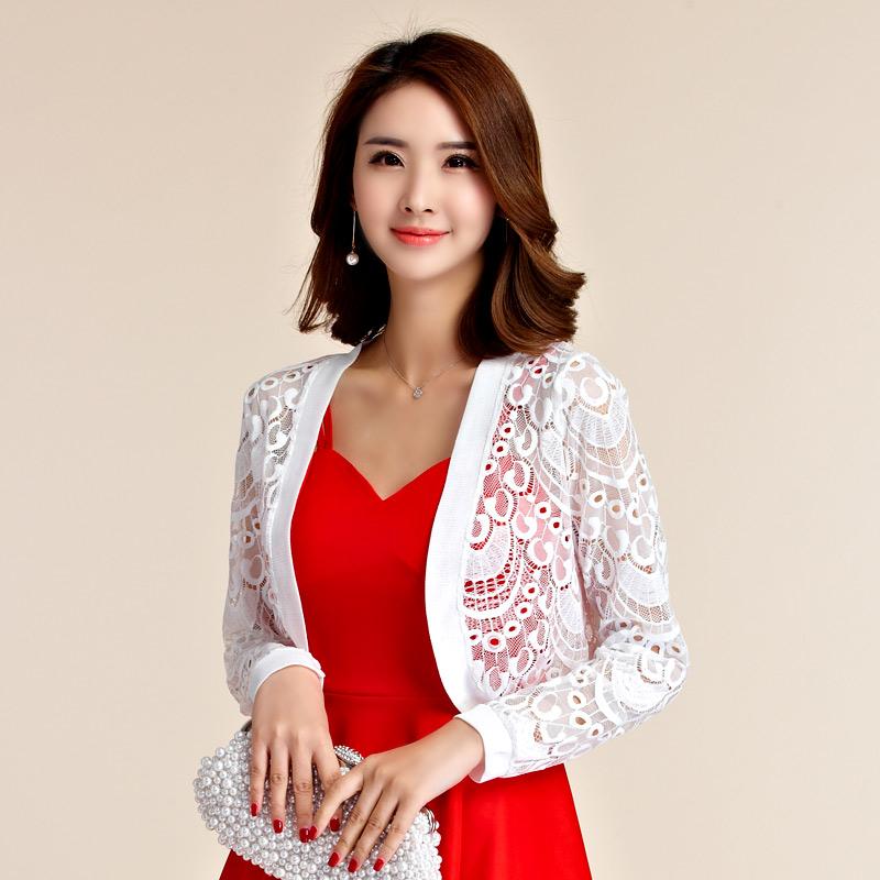 灰姑娘[9664-JK]花網蕾絲長袖小外套禮服披肩