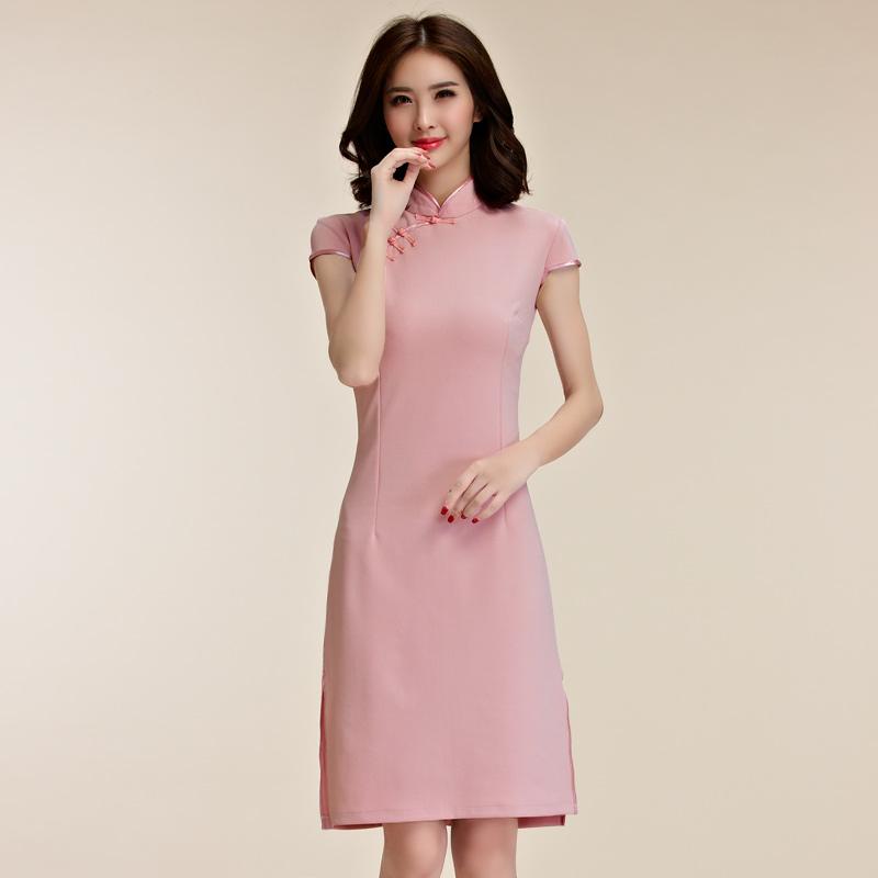 灰姑娘[9856-JK]復古風秀氣短袖唐裝改良式旗袍禮服~謝師宴洋裝