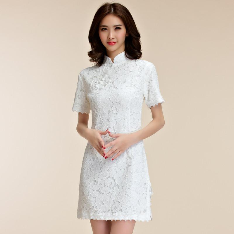 灰姑娘[9857-JK]氣質緹花蕾絲中國風改良式旗袍~謝師宴~禮服~