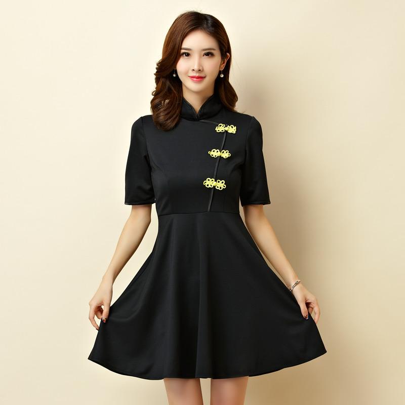 灰姑娘[9950-JK]改良式立領旗袍大裙襬表演洋裝小禮服~