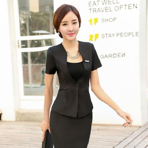 灰姑娘[ZY-953-PF]圓弧領單扣純色修身OL短袖西裝外套~